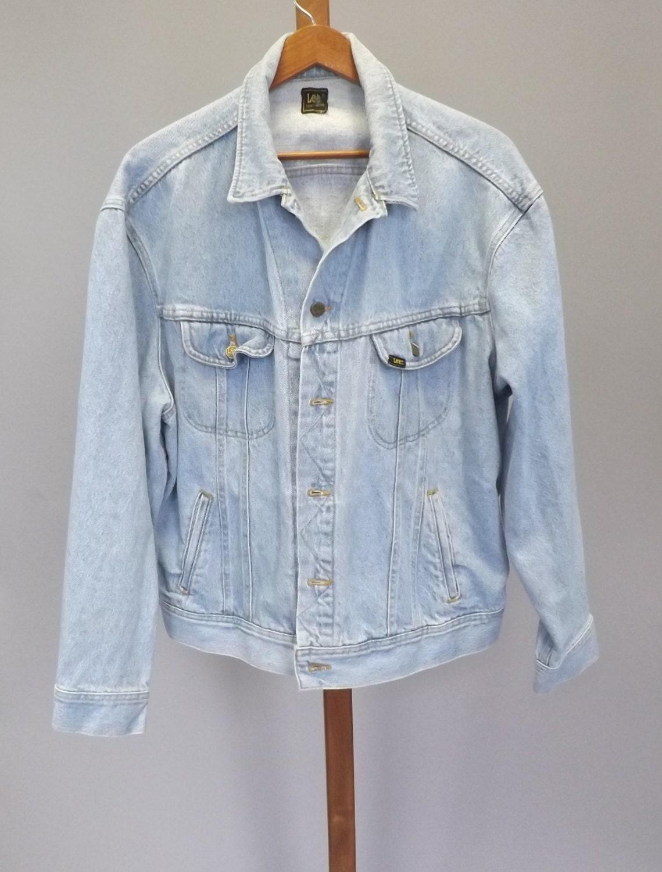 vintage 80s 90s lee jean jacket light blue womens mens denim