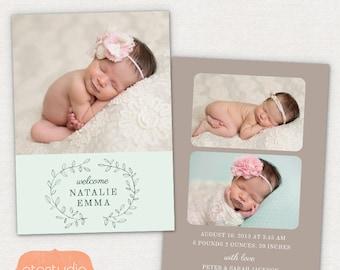 Birth Announcement Template - Pencil Laurel CB032 5x7 card - INSTANT DOWNLOAD