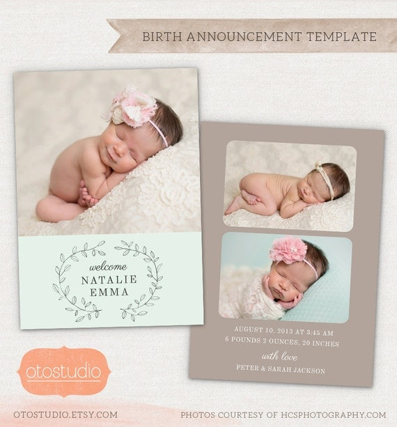 birth announcement template pencil laurel cb032 5x7 by otostudio. Black Bedroom Furniture Sets. Home Design Ideas