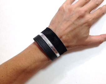 Black and silver striped leather bracelet cuff, leather braclet.