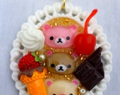 Kawaii Relax Bear pendant. Kawaii/Decora Ice Cream pendants. RelaKuma pendant. Bear pendant.