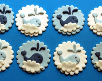 Whale Cupcake or Cookie Toppers - Chocolate  and Fondant