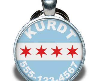 Pet ID Tag - Chicago Flag - Dog tag, Cat Tag, Pet Tag