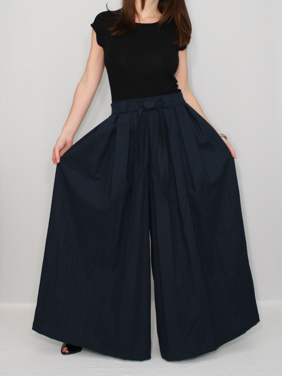 Women Linen Pants Navy Pants Palazzo Pant Skirt By Ksclothing
