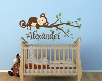 monkey decal monkey name decal nursery decor monkey nursery decal monkey tree branch decal jungle - Monkey Bedroom Decor