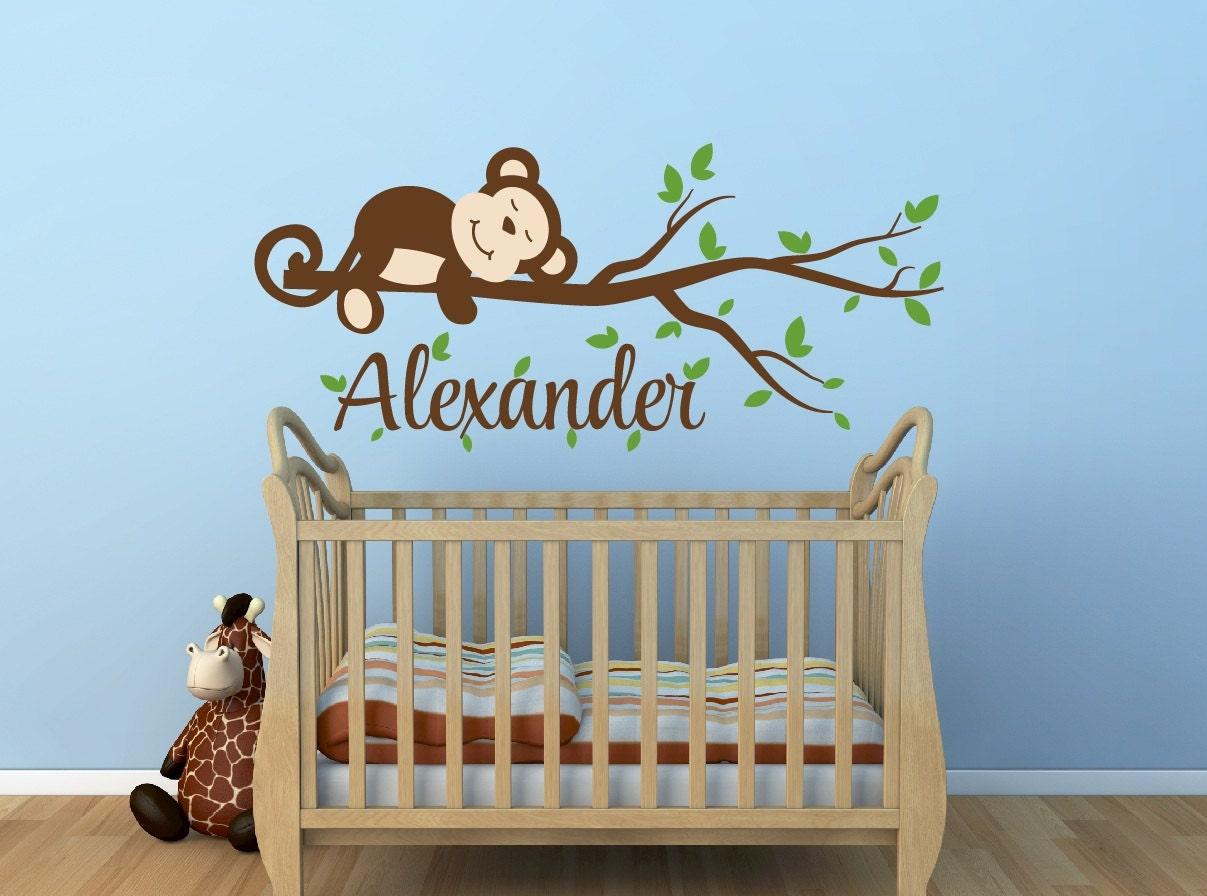 Monkey Decal Monkey Name Decal Nursery Decor Monkey Nursery