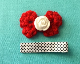 White Rose on Red Sparkle Bitty Bow Crochet Hair Clip
