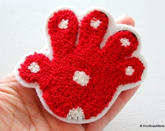 2 x Red Hands Palms Applique Patches