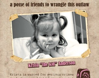"""Printable """"wanted poster"""" western themed birthday party invitation"""