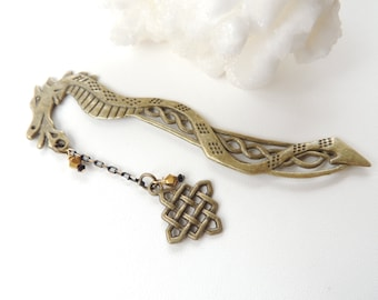 Antiqued Bronze Dragon Bookmark, Metal Bookmark, Books and Zines, Celtic Knot Bookmark, Fantasy Bookmark, Gift for Him. B128