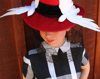 Custom Order: Vintage 1940s-Style Red Felt Wide Brim Tilt Hat with Two White Faux Birds & Black Vintage Veiling