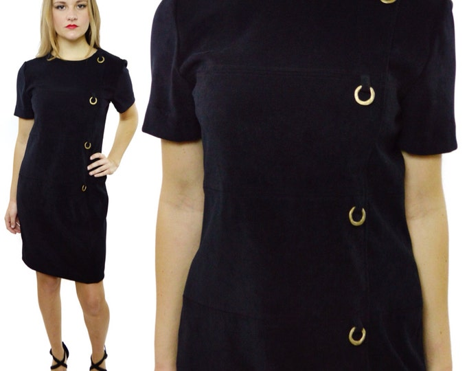 Vintage 90s Jessica Howard Petite Goth Sheath Stretch Short Skirt Dress
