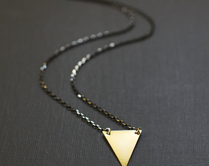 Long Gold Triangle Necklace - Faceted Brass Chain