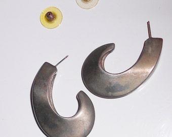 Vintage pierced earrings, Modernist abstract pierced earrings by E. Pearl 1990s Rare Designer jewelry