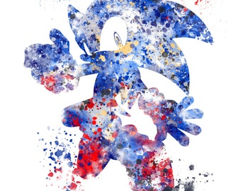 Sonic the Hedgehog ART PRINT illustration, Gaming, Home Decor, Wall Art