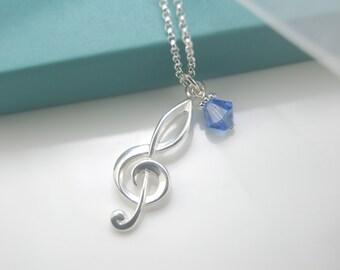 Music note necklace, Treble clef pendant, Music lover necklace, Music note, Treble clef and Swarovski birthstone bead