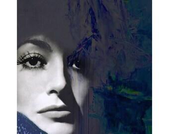 Joan Crawford, Vintage movie star, digital print, abstract, photomontage, 1950 s movie star, fine art print, Hollywood vintage, home decor