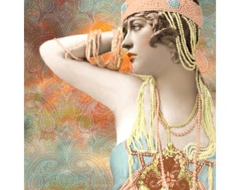 Pearl goddess, digital print, vintage flapper, 1920 s fashion, art deco, photomontage, Vogue vintage, digital art, vintage fashion, glamour