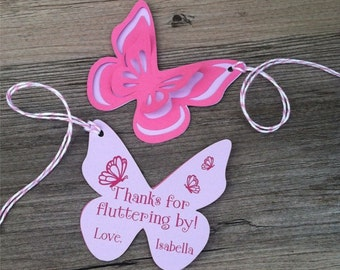 Butterfly Thank You Tags, Favor tags, Gift tags - Personalized  - baby shower, birthday - set of 8