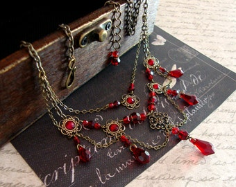 Red Gothic Necklace - Swarovski Crystal Victorian Choker - Romantic Blood Red Teardrop Necklace - Bronze Gothic Jewelry Vampire Jewelry