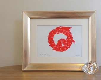 Fire dragon - signed Gocco screen print