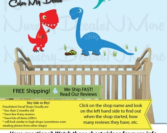 Trex Stickers, Dinosaur Stickers, Dinosaur Wall Decor, Dino Decals, Mini Trex Colorful (MINI_Trex_49_Bronto_28_Pter_22) DINO TRM