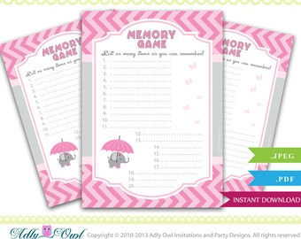 memory game for baby shower printable pink gray baby girl shower