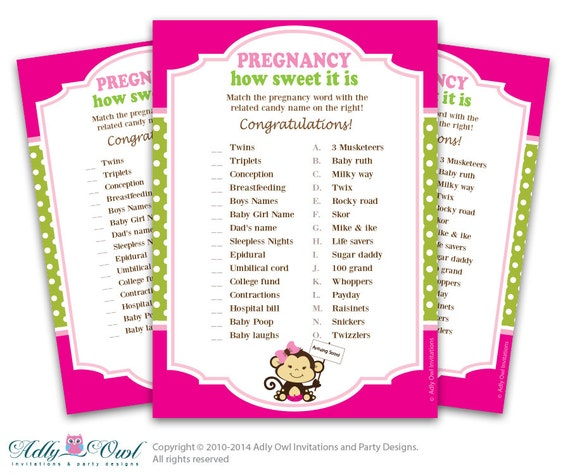 candy game in hot pink green for a girl monkey baby shower ao01bs