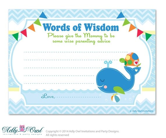 sea boy whale turtle words of wisdom advice card for baby shower