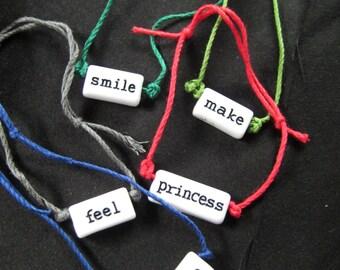 String beaded word bracelet
