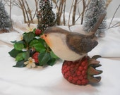 Pretty Resin Bird on Berry for Adding to Gift Baskets or Displays