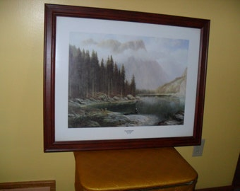 Large Framed Georg Engelhardt Color Print Lithograph Titled Tranquil Mountains
