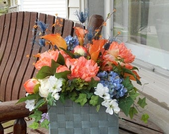 Coral And Antique Blue Silk Flower Table Arrangement Or Altar Flowers Wedding Centerpiece