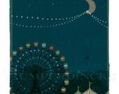 Nursery Art Print, Carnival Glow - 8x10 Children's Wall Art, Dark Blue, Circus Lights