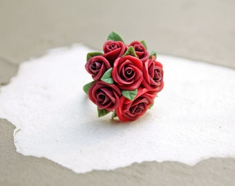 red rose ring made by polymer clay