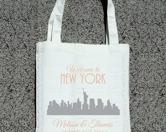 City Skyline Welcome Totes- Wedding Out Of Town Guest Welcome Tote Bag