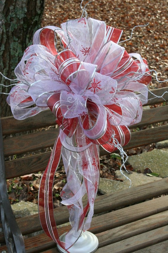 Christmas tree topper ribbon bow red and