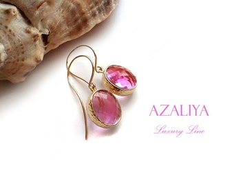 Radiant Orchid Dangles in Gold. Radiant-Orchid Earrings. Pink. Azaliya Luxury Line. Bridal, Bridesmaids Gifts. Pantone Color of the Year.
