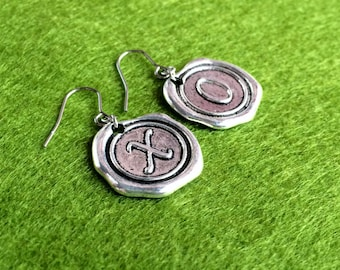 Antique Silver XO Wax Seal Initial Stainless Steel Earrings, Classic Tiny Dainty Drop Dangle Earrings E80