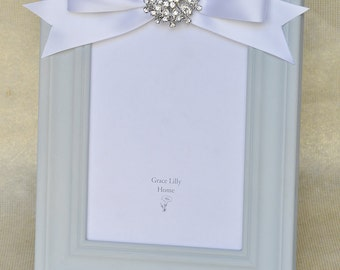 Embellished Picture Frame with Bow-CHOOSE your Size 4x6, 5x7, 8x10
