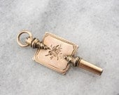 Antique Rose Gold Victorian Key Fob with Engraved Motif W8X20H-P