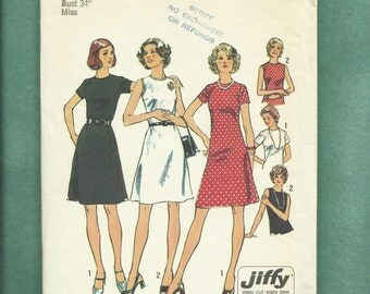"Vintage 1973  Simplicity 6080 Jewel Neckline ""A"" Line Dress with Short Sleeves or Sleeveless Size 12 UNCUT"