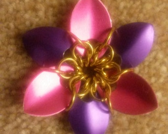 Pink and purple MLP Flower Scalemaille Pendant Chainmaille