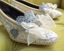 Marie Antoinette Shoes Rococo Baroque Heels Renaissance Costume Champagne Ivory French Lace Custom Bespoke Bridal Silver Appliqué and Pearls