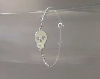 "Chain Bracelet 925 silver Charm ""Death's Head"" 925 silver"