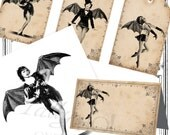 Bat Girls Party and Craft set. Retro Halloween Tags Place cards Postcards. Pin Up  Instant Digital Download.