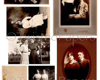 VINTAGE PHOTOS of Women & Men from the 1880s - early 1900s, Printable Digital Collage Sheet, 13-950