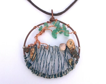 Waterfall wire tree necklace, blue and silver pendant with aventurine gemstones, wearable art