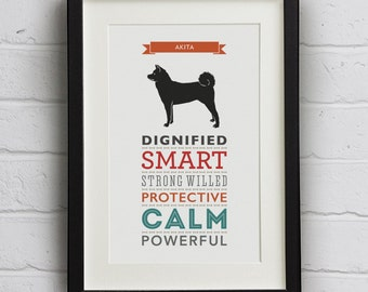 Akita Dog Breed Traits Print