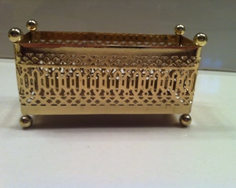 Brass filigree punched metal box